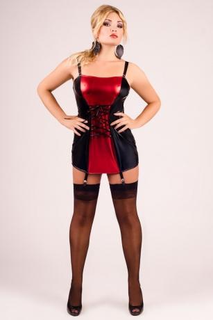 Schwarz/rotes Strapskleid mit Schnürung