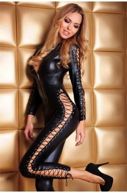 Schwarzer Wetlook Catsuit Sheila von 7-Heaven Dessous