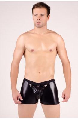Schwarze Wetlook Boxershorts für Männer von Andalea Dessous
