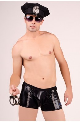 Schwarze Boxershorts (Police-Officer-Look) von Andalea Dessous