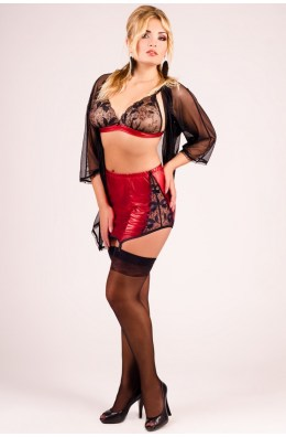3-teiliges Dessous Set in Schwarz/Rot