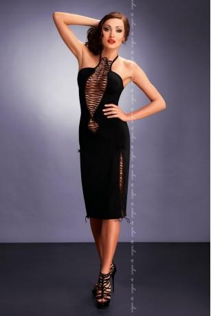 Schwarzes Minikleid mit Zierschnürung