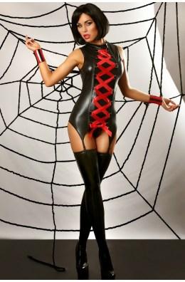 Schwarzes Strapskleid mit breiter Schnürung von Lolitta Dessous