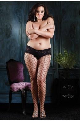 Netzstrumpfhose mit Spitzenpanty von Leg Avenue
