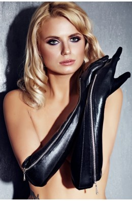 Schwarze Handschuhe mit seitlichem Reißverschluss
