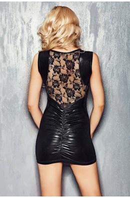 Schwarzes Wetlook-Kleid mit feiner Spitze von 7-Heaven Dessous
