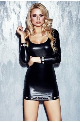 Trendiges schwarzes Wetlook-Kleid