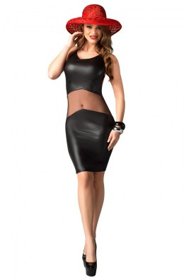 Schwarzes Wetlook Kleid mit transparentem Tüll