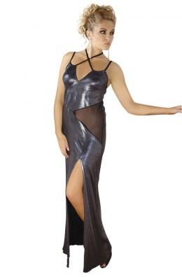 Langes silbernes Wetlook-Kleid