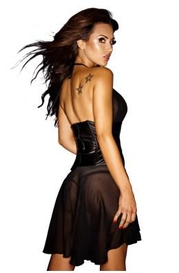 Schwarzes Wetlook-Minikleid aus Chiffon & Wetlook