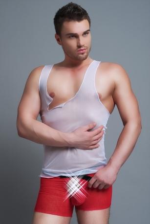 Unterwäsche Set für Männer in Weiß und Rot
