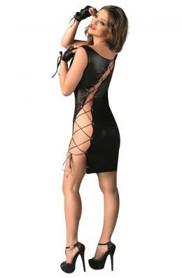Schwarzes Wetlook Kleid