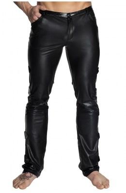 Schwarze lange Hose im Wetlook Look von Noir Handmade