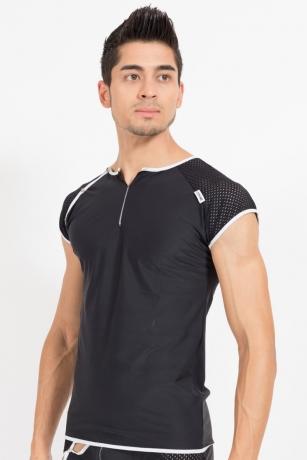 Schwarz/weißes V-Shirt Mixing von Look Me