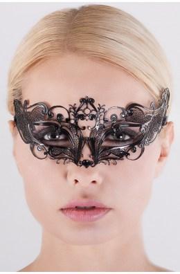Elegante schwarze venezianische Maske