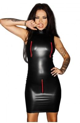 Schwarzes Minikleid mit roten Reißverschlüssen
