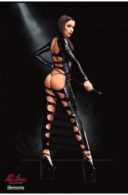 Langes schwarzes Wetlook-Kleid