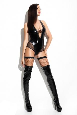 Schwarzer Wetlook-Body Claudia von Demoniq Mistress Collection