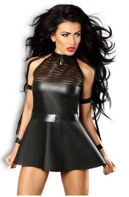 Schwarzes Minikleid aus Kunstleder und Wetlook