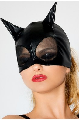 Katzenmaske in Schwarz für einen Catwoman Auftritt. Sexy Maske in Katzen-Wetlook-Optik