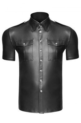 Herrenhemd in Schwarz aus Wetlook-Material von Noir Handmade | Shirt