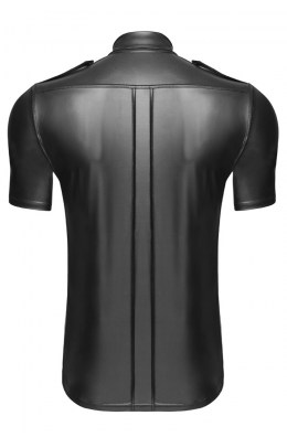 Schwarzes Wetlook-Hemd von Noir Handmade