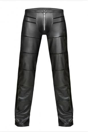 Schwarze lange Hose aus Wetlook-Material von Noir Handmade