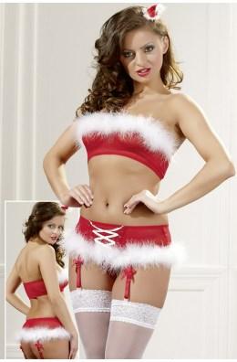 Rotes Weihnachts-Strapsset aus Top und Strapsgürtel