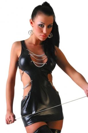 Schwarzes Wetlook-Kleid Escape von Lolitta Dessous
