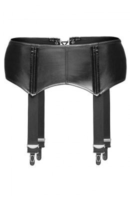 Schwarzer Wetlook Strapsgürtel von Noir Handmade