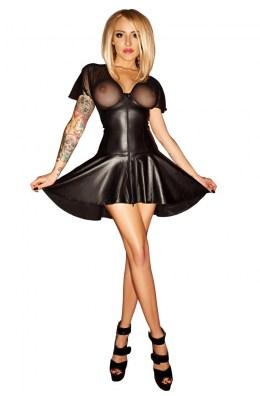 Schwarzes Wetlook Kleid von Noir Handmade