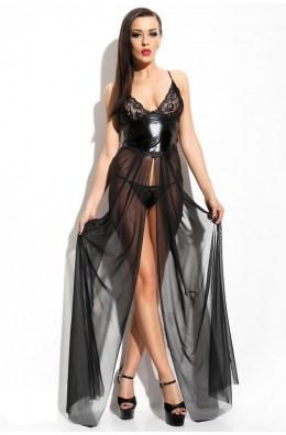 Wetlook Kleid Anastasia - lang, schwarz