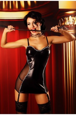 Schwarzes Kleid aus Lederimitat - mit Metallkettenverzierung