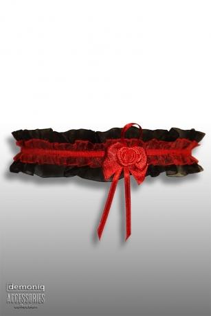Strumpfband, schwarz mit roter Blüte