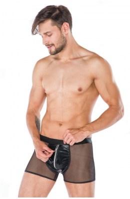 Schwarze Boxershort aus Wetlook und Tüll