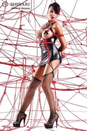 Schwarzes Strapskleid Yuriko + 2 Seile