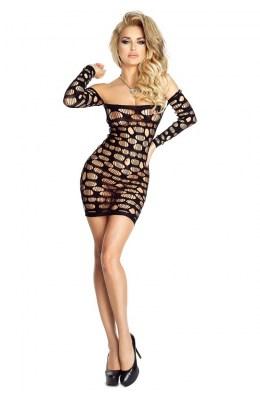 Schwarzes Netz-Kleid - knapp geschnitten
