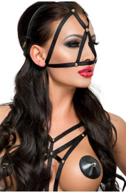 Schwarze Maske, gefertigt aus dehnbaren Gummibändern