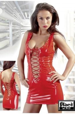 Rotes Lack Minikleid mit vorderer und hinterer Schnürung