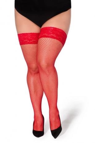 Halterlose Netz-Strümpfe Christina rot