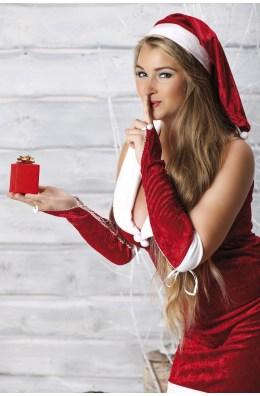 Rotes Weihnachtskleid mit Armstulpen und Mütze