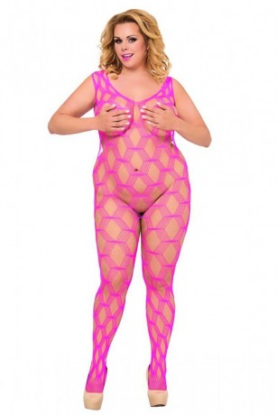 Pinkes ouvert Netz-Catsuit - Bodystocking