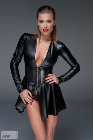 Schwarzes Minikleid aus elastischem Powerwetlook