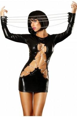 Schwarzes Wetlook-Kleid von Lolitta
