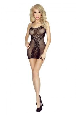 Schwarzes, transparentes Netz-Kleid