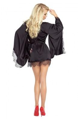 Schwarzer Le Petit Satin Kimono von Provocative