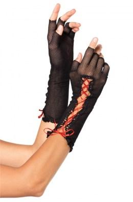 Schwarze halblange fingerlose Netzhandschuhe mit Schnürung