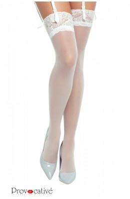 Weiße Nylon-Strümpfe für Strumpfhaltergürtel