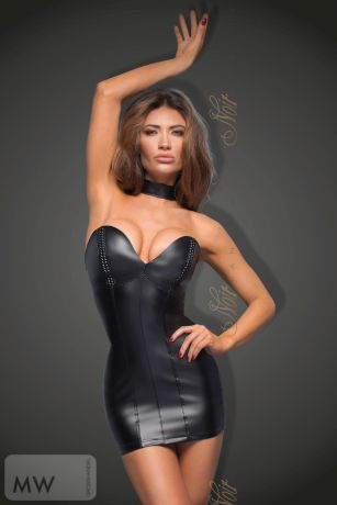 Schwarzes Powerwetlook Minikleid mit Ecoleather cups F172