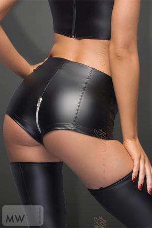 High waist Powerwetlook Shorts mit Reißverschluss